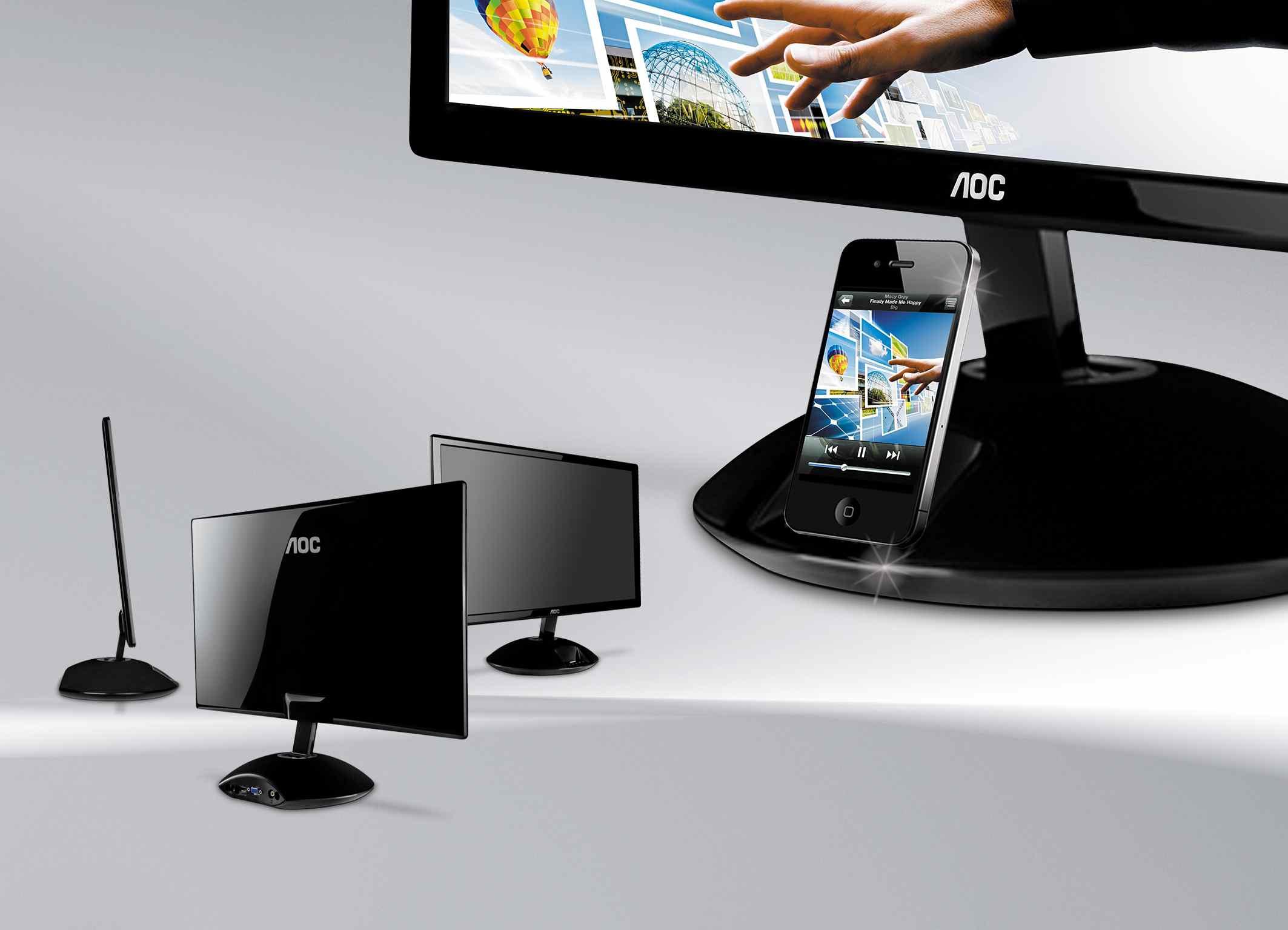 aoc mit neuen monitor und integriertem iphone dock. Black Bedroom Furniture Sets. Home Design Ideas