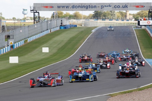 Action from the second Formula E event simulation at Donington Park. (c)Formula E