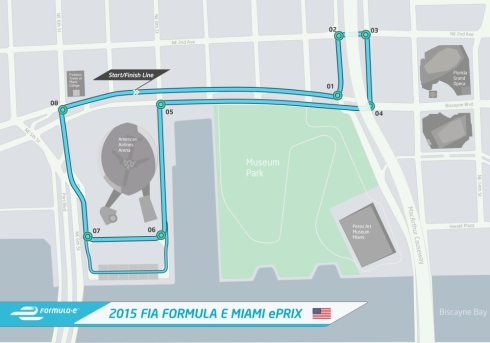 The circuit layout for the Miami ePrix hosting the first ever Formula E race ©Formula E