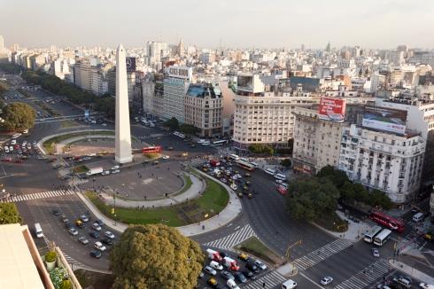 Aerial View Buenos Aires Argentina with Obelisco (c)Formula E