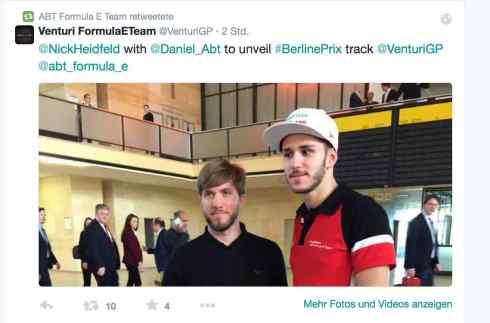 Heidfeld und Abt in Berlin (c)Venturi/Twitter