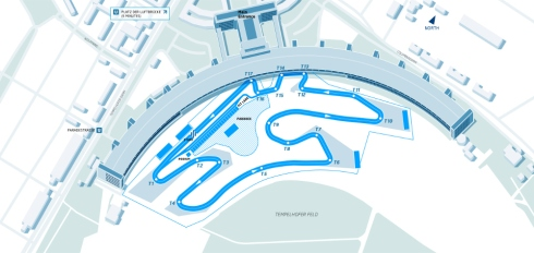 The circuit layout for the 2015 DHL Formula E Berlin ePrix (c)FormulaE