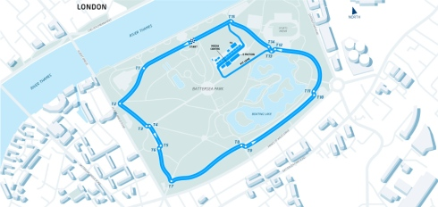 The proposed circuit layout for the Formula E London ePrix at Battersea Park (c)Formula E