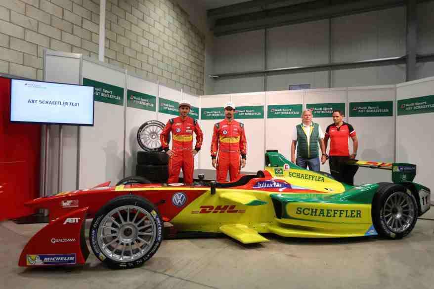 Daniel Abt, Lucas di Grassi, Prof. Peter Gutzmer, Hans-Jürgen Abt,FIA Formula E, Test Donington (c)Schaeffler