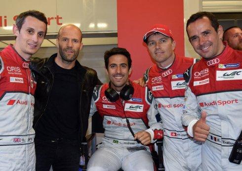 Oliver Jarvis, Jason Statham, Lucas di Grassi, Marcel Fässler, Benoît Tréluyer in Le Mans 24 Hours 2016 (c)Audi