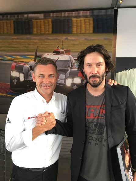 Tom Kristensen, Keanu Reeves bei 24h Le Mans 2016 (c)Audi