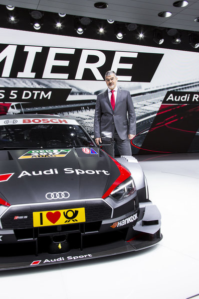 Dieter Gass (Head of Motorsport of AUDI AG); next to the new Audi RS5 DTM on the Geneva Motorshow 2017.(c)Audi