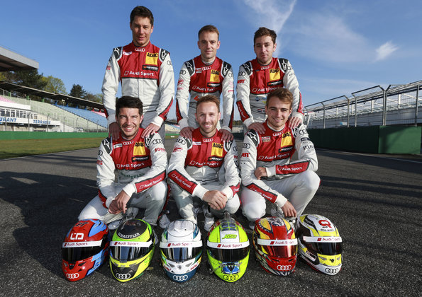 Loïc Duval, Jamie Green, Robin Frijns, Mike Rockenfeller, René Rast, Nico Müller,DTM-Test Hockenheim 2018 (c)Audi