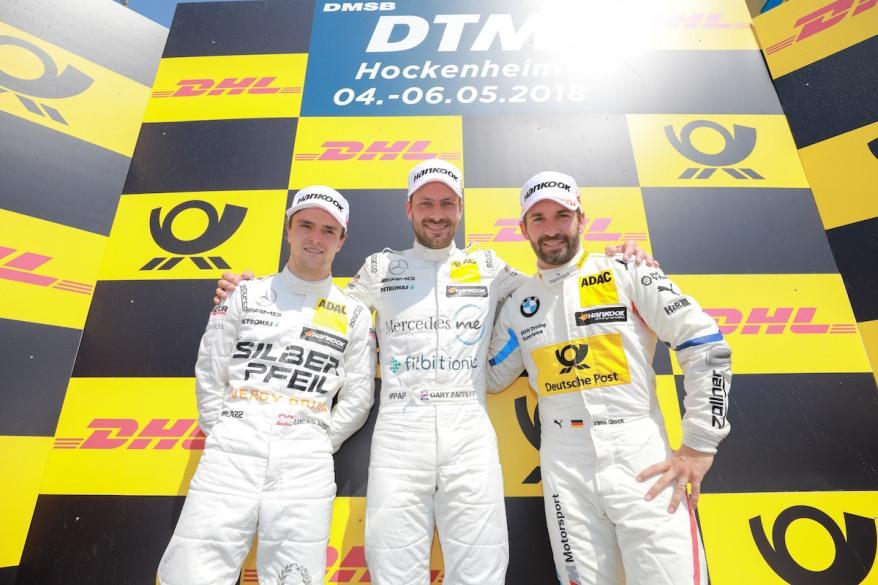 Motorsports: DTM race Hockenheimring, Saison 2018 - 1. Event Hockenheimring, GER, Lucas Auer ( AUT, Mercedes HWA AG ), Gary Paffett ( GBR, Mercedes HWA AG ), Timo Glock, ( D, BMW Team RMG ),Motorsports: DTM race Hockenheimring (c)DTM