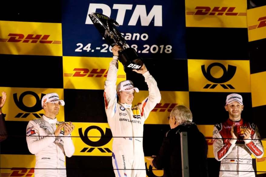 Misano (ITA) 26th August 2018. BMW M Motorsport, DTM, Round 7, Podium, Joel Eriksson (SWE), BMW M4 DTM, BMW Team RBM (c)BMW