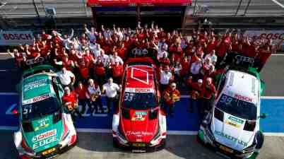 100th victory for Audi in the DTM: Nico M¸ller, Robin Frijns (Audi Sport Team Abt Sportsline), Dieter Gass, Jamie Green, RenÈ Rast (Audi Sport Team Rosberg), Mike Rockenfeller, LoÔc Duval (Audi Sport Team Phoenix),DTM Spielberg 2018 (c)Audi