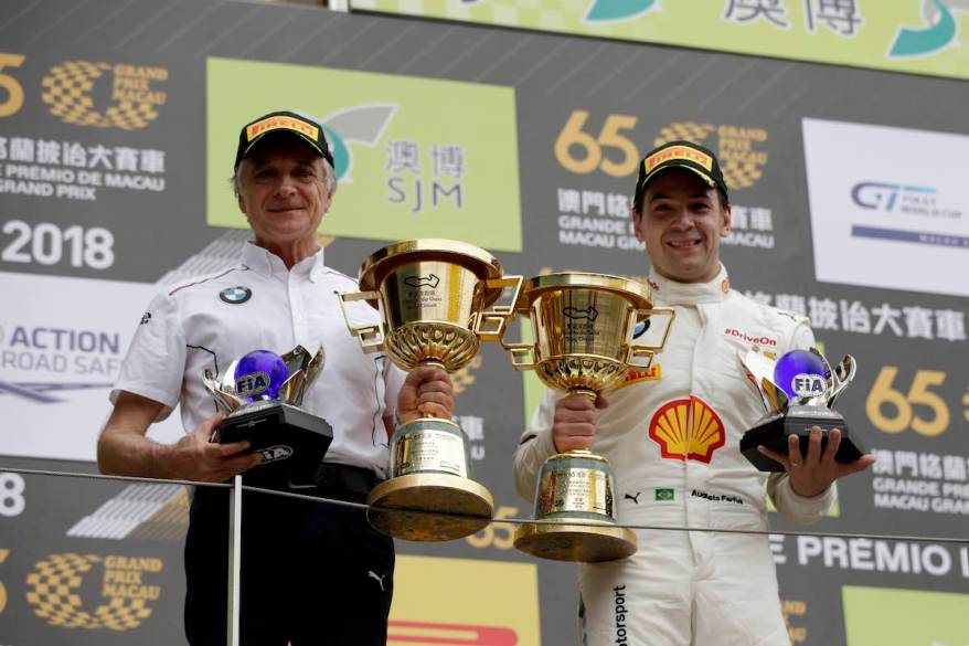 Macau (CHN) 18th November 2018. BMW M Motorsport, FIA-GT World Cup, Charly Lamm (GER) Team principal BMW Team Schnitzer, #42 BMW Team Schnitzer (GER) BMW M6 GT3, Augusto Farfus (BRA)(c)BMW