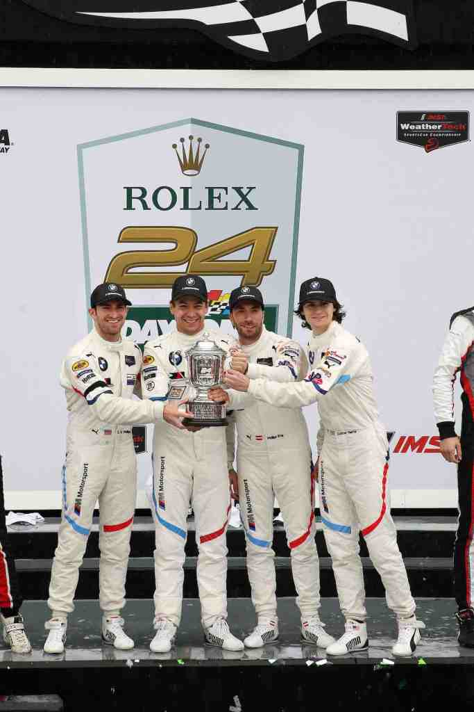 Daytona, 27th January, IMSA WeatherTech Sportscar Championship 2019, Rolex 24 at Daytona, Daytona International Speedway, Daytona, FL (USA). Winner GTLM class Connor De Phillippi (USA), Augusto Farfus (BRA), Philipp Eng (AUT),Colton Herta (USA), BMW M8 GTE #25, BMW Team RLL (c)BMW
