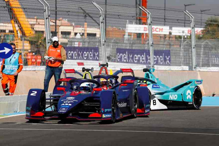 CIRCUIT INTERNATIONAL AUTOMOBILE MOULAY EL HASSAN, MOROCCO - JANUARY 12: Sam Bird (GBR), Envision Virgin Racing, Audi e-tron FE05, Robin Frijns (NLD), Envision Virgin Racing, Audi e-tron FE05, and Tom Dillmann (FRA), NIO Formula E Team, NIO Sport 004, crash in the pits during the Marrakesh E-prix at Circuit International Automobile Moulay El Hassan on January 12, 2019 in Circuit International Automobile Moulay El Hassan, Morocco. (Photo by FiaFormulaE,Sam Bloxham / LAT Images)