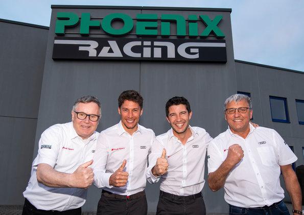 Dirk Theimann, Loïc Duval, Mike Rockenfeller, Ernst Moser,Team Phoenix Racing (c)Audi