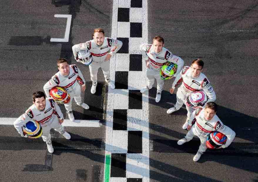 Mike Rockenfeller, Robin Frijns, René Rast, Jamie Green, Nico Müller, Loïc Duval,DTM Test Lausitzring 2019 (c)Audi