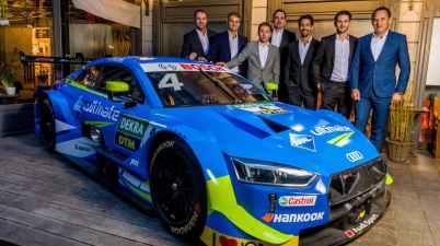 Meet the Team, München 2019, Thomas Biermaier, Nico Müller, Robin Frijns, Florian Modlinger, Lucas di Grassi, Daniel Abt, Hans-Jürgen Abt, Aral Ultimate Audi RS 5 DTM (c)Audi