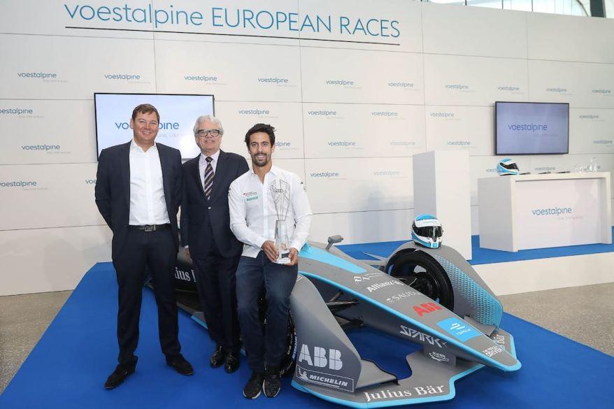 Lucas Di Grassi, Formel-E-Fahrer im Team Audi Sport ABT Schaeffler, Frederic Espinos, Sporting Director Formula E und Wolfgang Eder, Vorstandsvorsitzender voestalpine (c)voestalpine