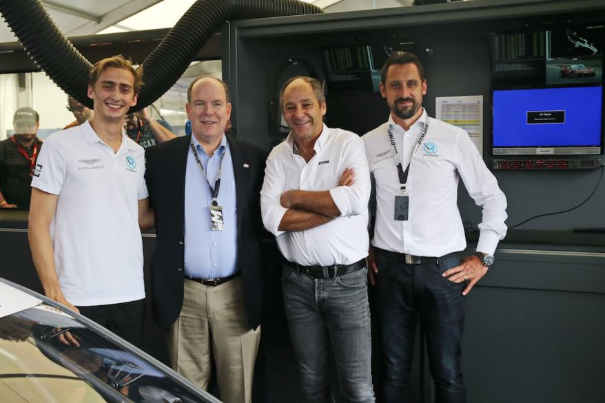 Aston martin mit Gerhard Berger und Fürst Albert ©R-Motorsport