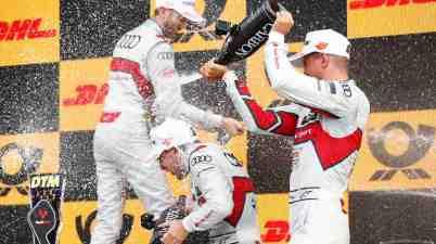 Audi feiert ausgelassen DTM Brands Hatch 2019 ©DTM