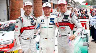 DTM Brands Hatch 2019,René Rast, Audi; Marco Wittmann, BMW; Nico Müller, Audi ©DTM