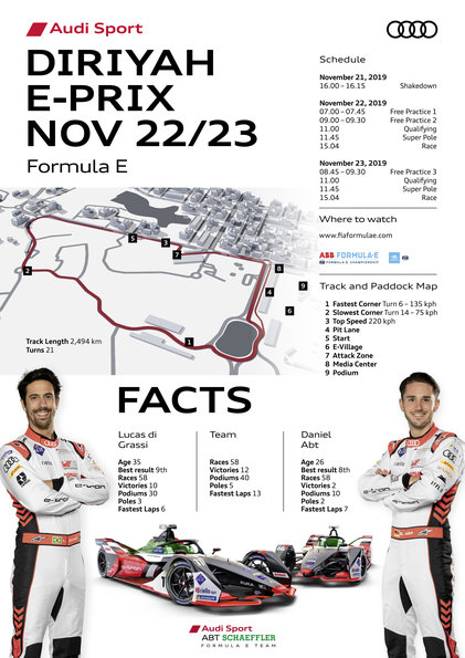 Race Facts,Formula E, Diriyah E-Prix 2019 ©Audi