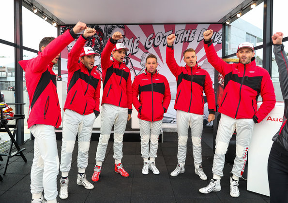 René Rast, Jamie Green, Nico Müller, Loïc Duval, Mike Rockenfeller, Robin Frijns ©Audi