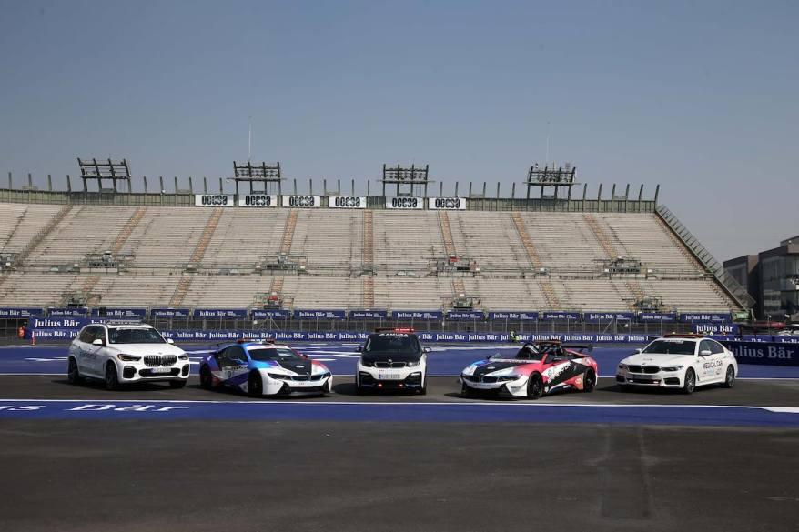 BMW X5 e45 Rescue Car, BMW i8 Coupé Safety Car, BMW i3s Race Director Car, BMW i8 Roadster Safety Car, BMW 530e Medical Car ©BMW