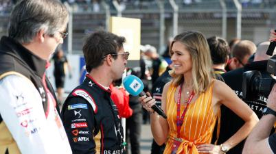 Mark Preston, Team Principal, DS Techeetah, and Antonio Felix da Costa (PRT), DS Techeetah, with TV Presenter Nicki Shields ©courtesy ba FormulaE