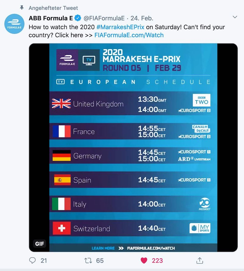 Formel E im TV ©Twitter,FormulaE