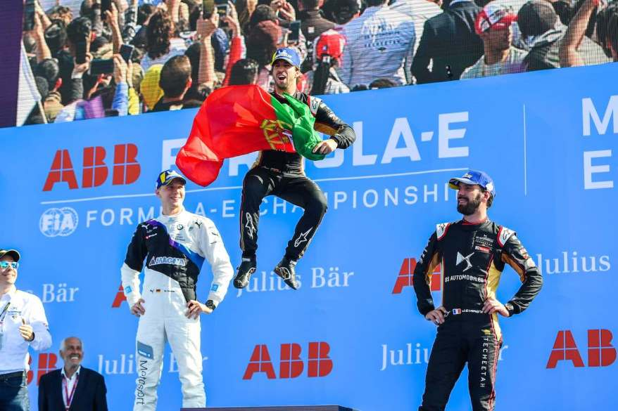 Antonio Felix da Costa (PRT), DS Techeetah, DS E-Tense FE20, 1st position, Maximilian Günther (DEU), BMW I Andretti Motorsports, 2nd position, and Jean-Eric Vergne (FRA), DS Techeetah, DS E-Tense FE20, 3rd position ©courtesy by FormulaE
