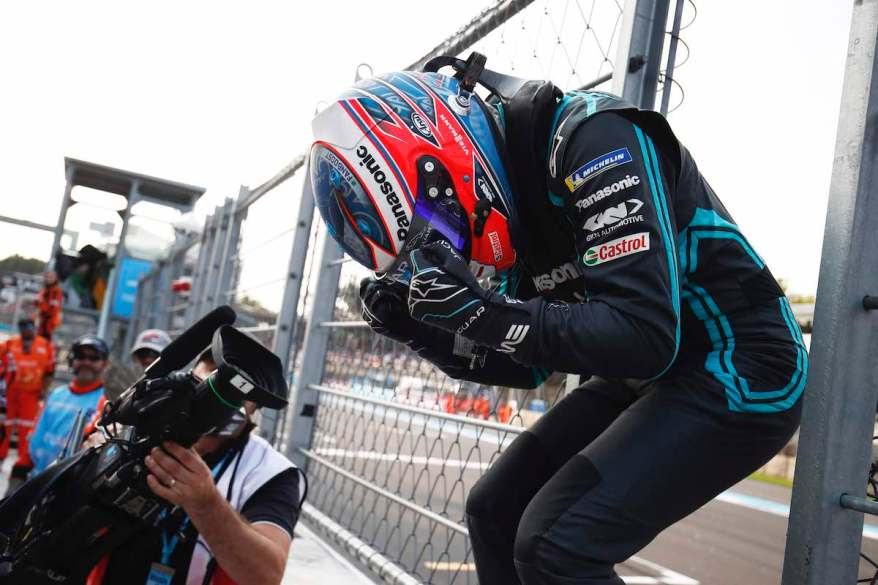 Mitch Evans (NZL), Panasonic Jaguar Racing, celebrates after winning the race©courtesy by Formel E