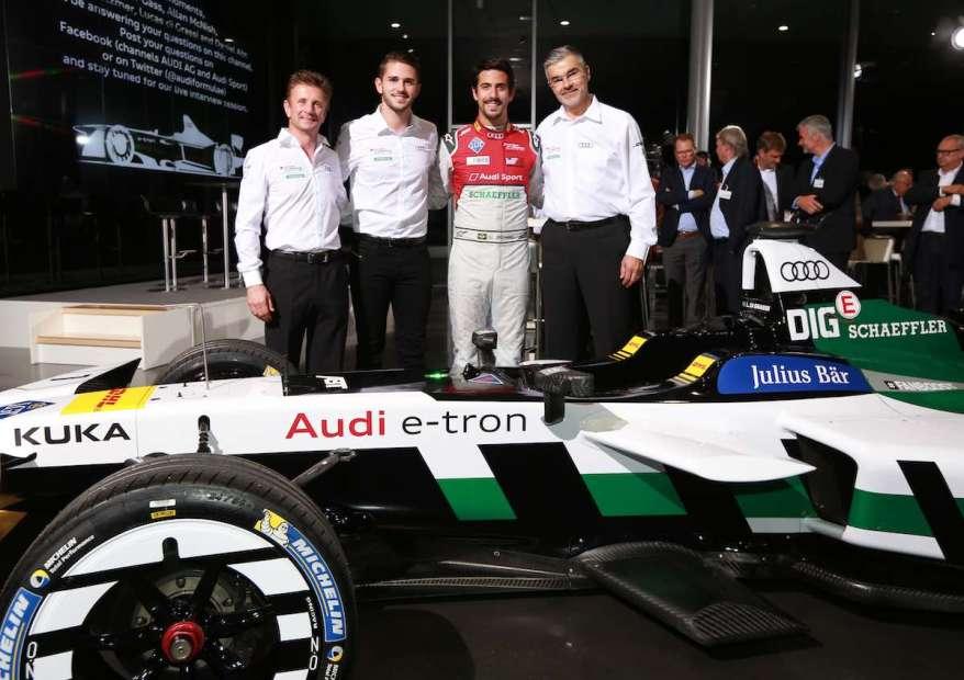 Allan McNish, Daniel Abt, Lucas di Grassi, Dieter Gass,Audi Formula E Team Presentation ©Audi