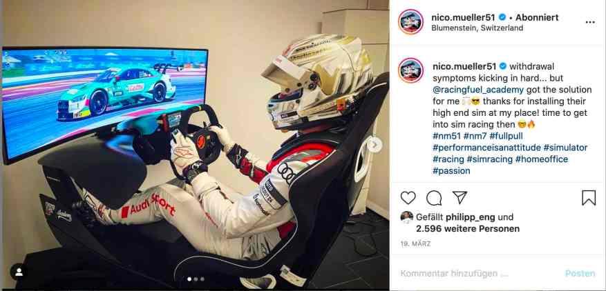 Nico Müller Sim-Racing-Fieber ©Müller,Instagram