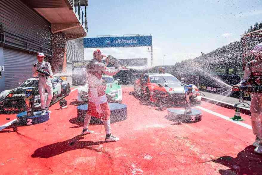 Rast feiert den Sieg mit Müller und Frijns,DTM Spa Francorchamps 2020 ©DTM