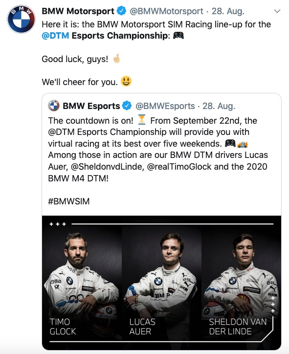 BMW Motorsport via Twitter zur ESports Championship ©Twitter,BMW