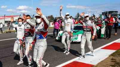 Robin Frijns, Loïc Duval, Mike Rockenfeller, Nico Mueller, Jamie Green: DTM Nuerburgring 1 2020 ©DTM,HOCH ZWEI