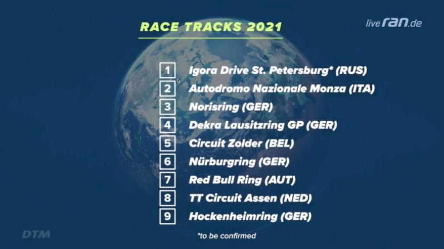 Rennkalender DTM 2021 ©DTM , ransport
