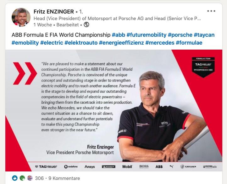 Fritz Enzinger Porsche©Linkedin, Porsche