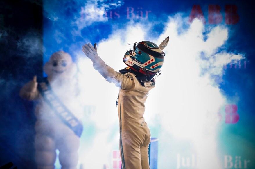 Race winner Nyck de Vries (NLD) Mercedes Benz EQ celebrates in Parc Ferme @FIAFormulaE