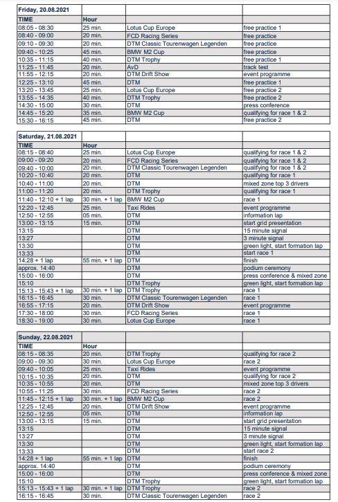 Zeitplan DTM Nürburgring ©DTM