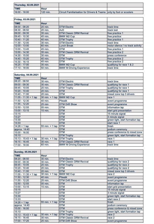 Zeitplan DTM Red Bull Ring 2021 ©DTM