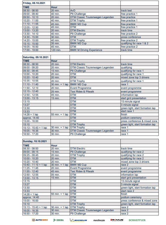 Zeitplan Norisring 2021 @MCN, DTM